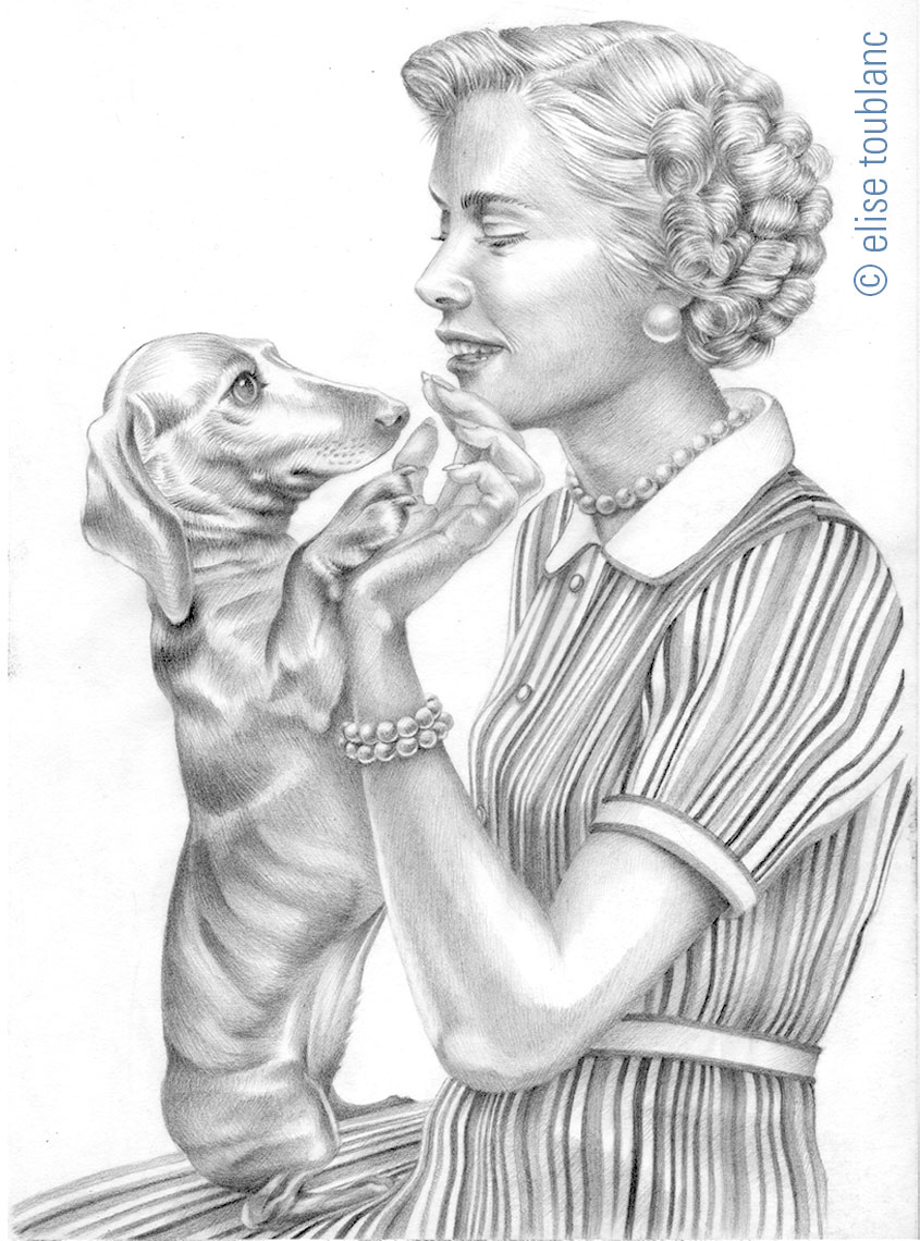 girl 50s dachshund